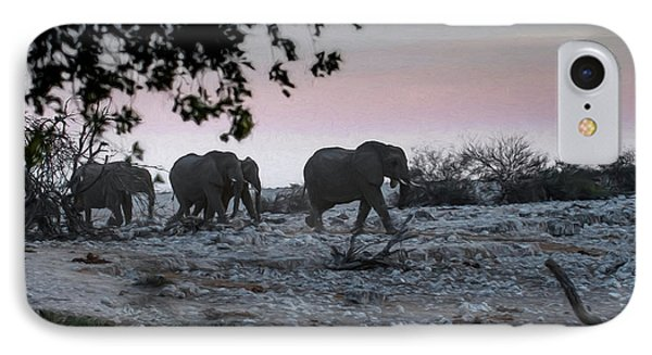 IPhone Case featuring the digital art The African Elephants by Ernie Echols