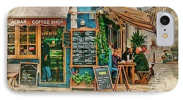 The Albar Coffee Shop In Alvor. IPhone Case by Brian Tarr