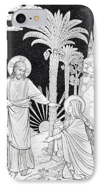 The Apparition Of The Lord To Mary Of Magdalen Lithography IPhone Case by Jozef Sedmak