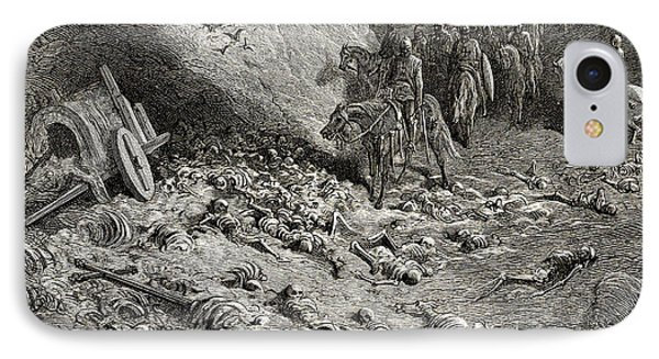 The Army Of The Second Crusade Find The Remains Of The Soldiers Of The First Crusade IPhone Case by Gustave Dore