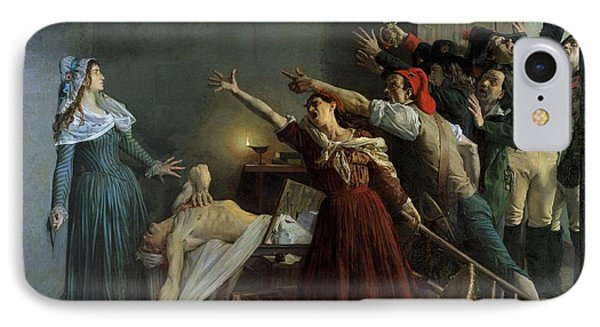 The Assassination Of Marat IPhone Case by Jean Joseph Weerts