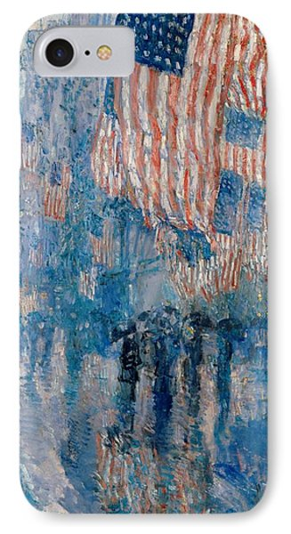 IPhone Case featuring the painting The Avenue In The Rain - 1917 by Frederick Childe Hassam