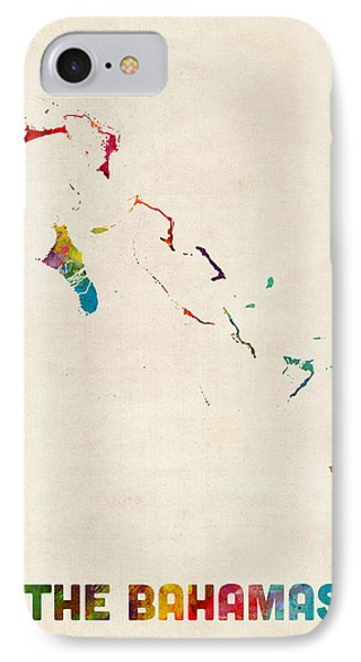 The Bahamas Watercolor Map IPhone Case by Michael Tompsett