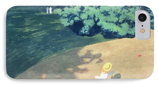 The Balloon Or Corner Of A Park With A Child Playing With A Balloon Phone Case by Felix Edouard Vallotton
