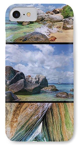 The Baths Virgin Gorda National Park Triptych IPhone Case by Olga Hamilton