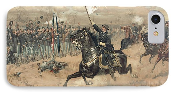 The Battle Of Cedar Creek Virginia IPhone Case by Thure de Thulstrup