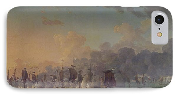 The Battle Of Louisbourg On The 21st July 1781 Phone Case by Auguste Rossel De Cercy