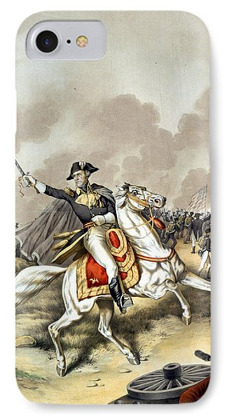 The Battle Of New Orleans With President Andrew Jackson Standing At The Front Of The American Flag W IPhone Case