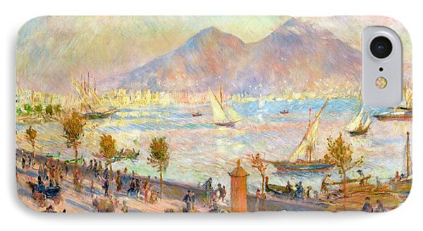 The Bay Of Naples With Vesuvius In The Background IPhone Case by Pierre Auguste Renoir