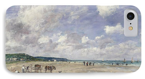 The Beach At Tourgeville Phone Case by Eugene Louis Boudin
