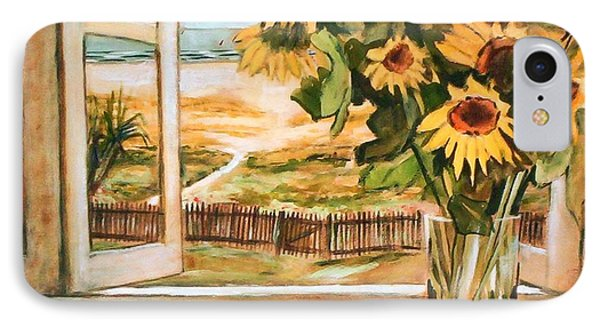 IPhone 7 Case featuring the painting The Beach Sunflowers by Winsome Gunning