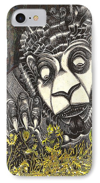 IPhone Case featuring the drawing The Beast Discovers New Life by Al Goldfarb