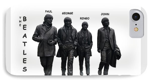 The Beatles On White IPhone Case by Movie Poster Prints