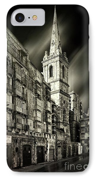 The Bell Tower Of A Church In Valletta IPhone Case by Stephan Grixti