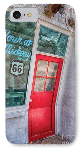The Bent Door On Historic Route 66 IPhone Case by Priscilla Burgers