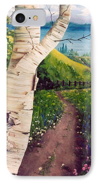 IPhone Case featuring the painting The Birch by Renate Nadi Wesley
