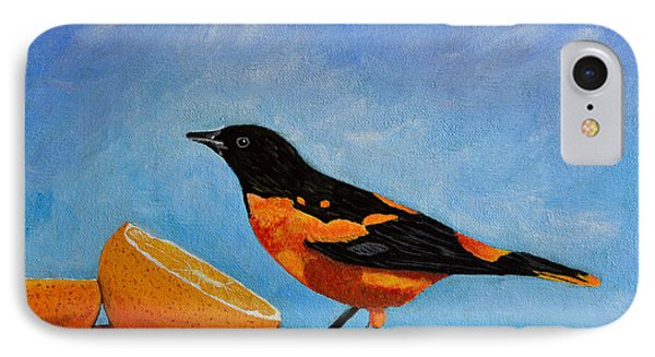 IPhone Case featuring the painting The Bird And Orange by Laura Forde
