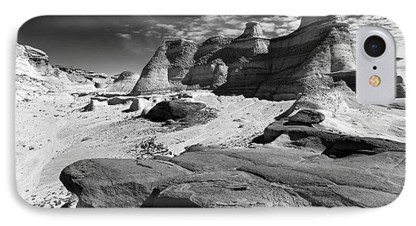 IPhone Case featuring the photograph The Bisti Badlands - New Mexico - Black And White by Jason Politte