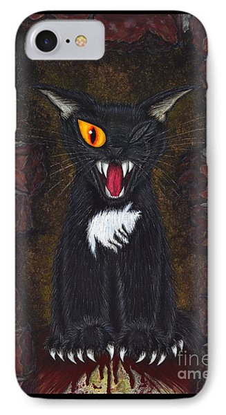 IPhone Case featuring the painting The Black Cat Edgar Allan Poe by Carrie Hawks