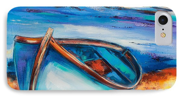 IPhone Case featuring the painting The Blue Boat by Elise Palmigiani