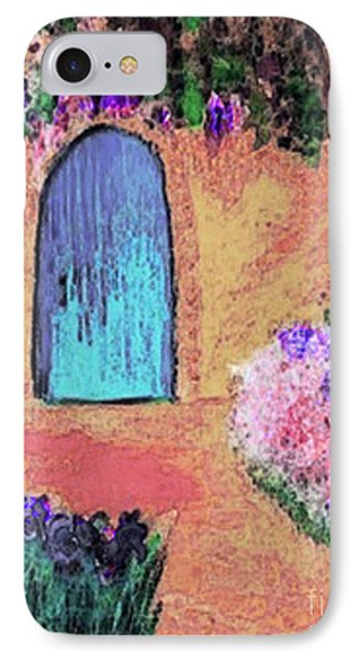 IPhone Case featuring the mixed media The Blue Door by Holly Martinson