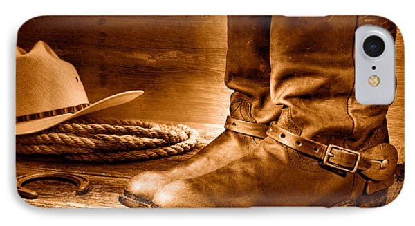 The Boots - Sepia IPhone Case by Olivier Le Queinec