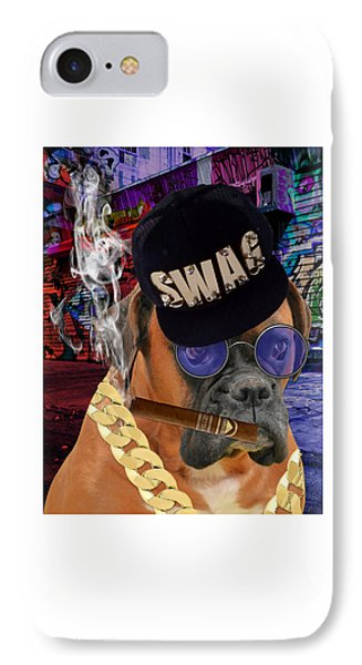 IPhone Case featuring the mixed media The Boss Boxer by Marvin Blaine