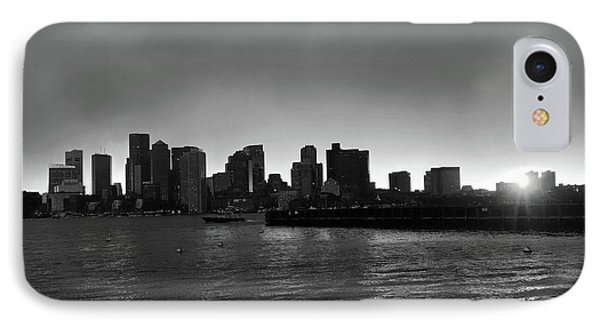 The Boston Skyline At Sunset From East Boston Black And White IPhone Case by Toby McGuire