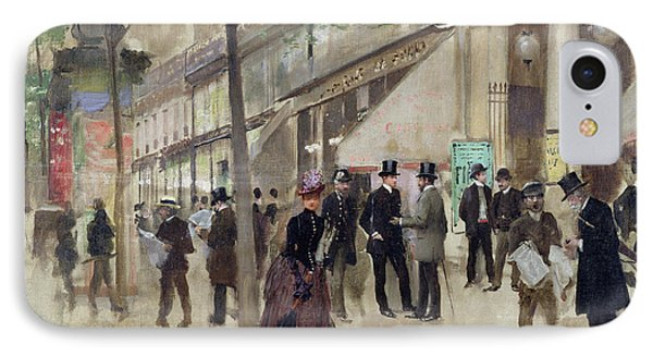 The Boulevard Montmartre And The Theatre Des Varietes IPhone Case by Jean Beraud