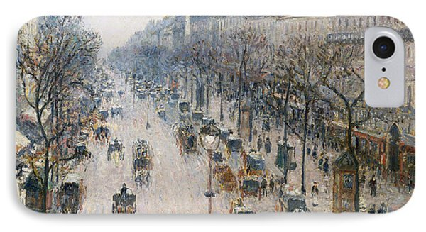 The Boulevard Montmartre On A Winter Morning, 1897  IPhone Case by Camille Pissarro