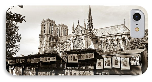 The Bouquinistes And Notre-dame Cathedral IPhone Case by Perry Van Munster