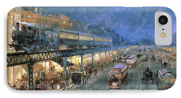 The Bowery At Night IPhone Case by William Sonntag