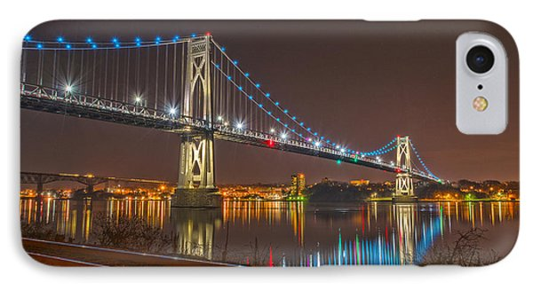 The Bridge With Blue Holiday Lights IPhone Case by Angelo Marcialis