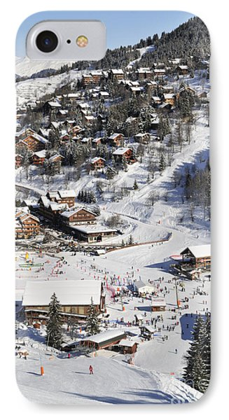 The Busy Chaudanne In Meribel The Heart Of Meribel In The Three Valleys Resort France Phone Case by Andy Smy