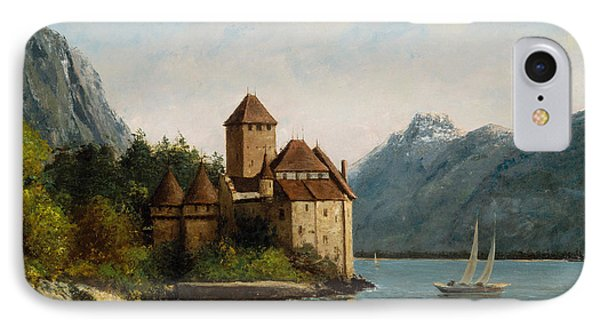The Castle Of Chillon Evening IPhone Case by Gustave Courbet