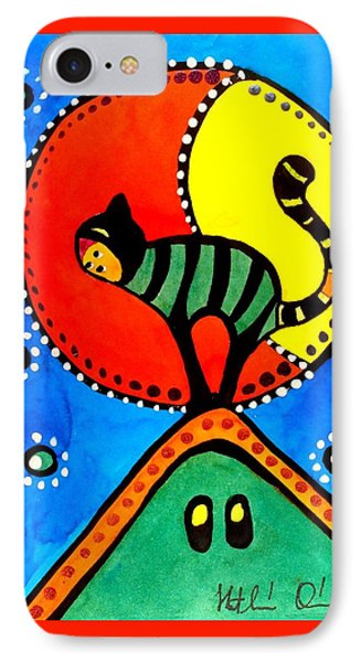 The Cat And The Moon - Cat Art By Dora Hathazi Mendes IPhone Case
