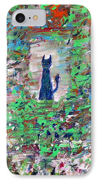 IPhone Case featuring the painting The Cat In The Garden by Fabrizio Cassetta