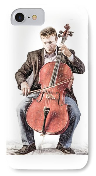 IPhone Case featuring the photograph The Cello Player In Sketch by David and Carol Kelly