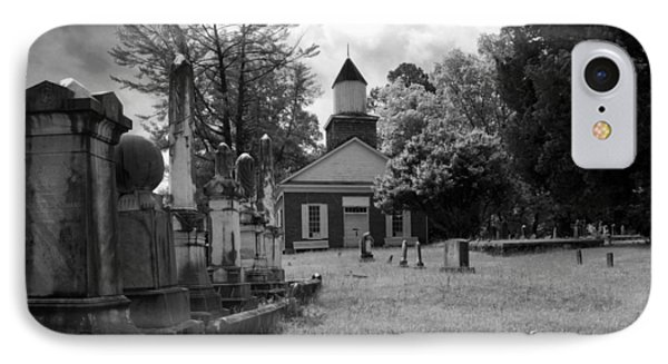 The Cemetery At Harshaw Chapel In Black And White IPhone Case by Greg Mimbs
