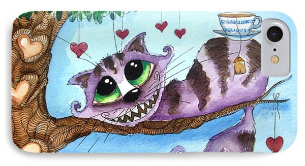 The Cheshire Cat - Tea Anyone Phone Case by Lucia Stewart