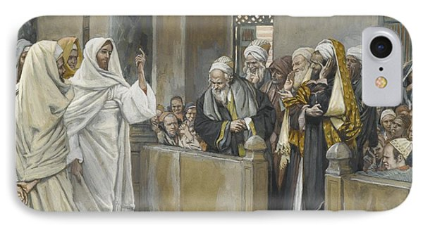 The Chief Priests Ask Jesus By What Right Does He Act In This Way Phone Case by James Jacques Joseph Tissot