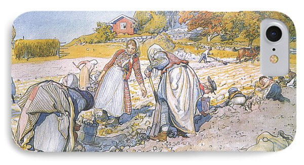The Children Filled The Buckets And Baskets With Potatoes IPhone Case by Carl Larsson