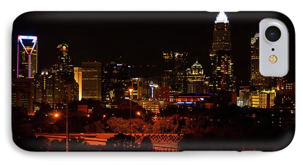 IPhone Case featuring the digital art The City Of Charlotte Nc At Night by Chris Flees
