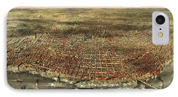 The City Of St. Louis, Circa 1874 IPhone Case by Currier and Ives