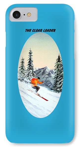 IPhone Case featuring the painting The Clear Leader Skiing by Bill Holkham