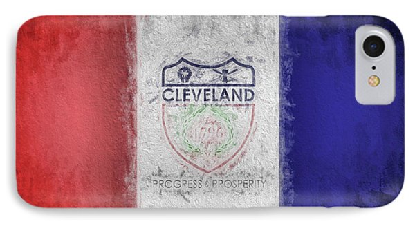 IPhone Case featuring the digital art The Cleveland City Flag by JC Findley