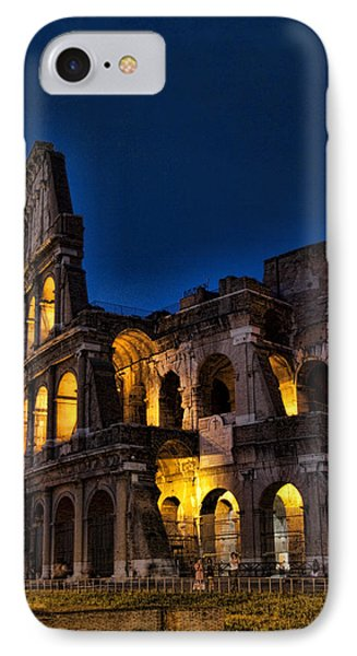 The Coleseum In Rome At Night Phone Case by David Smith
