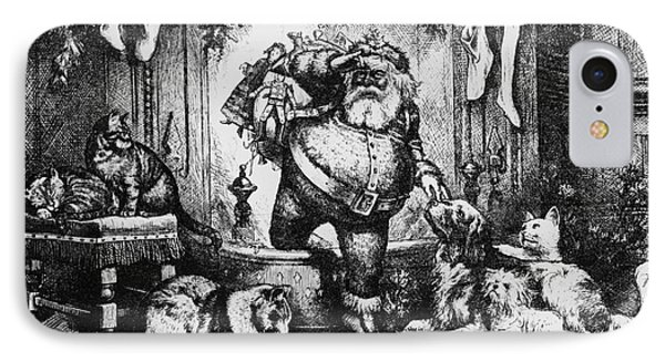 The Coming Of Santa Claus IPhone Case by Thomas Nast