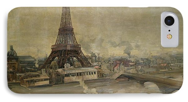 The Construction Of The Eiffel Tower IPhone Case by Paul Louis Delance