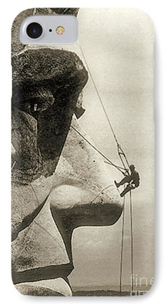 The Construction Of The Mount Rushmore National Memorial, Detail Of Abraham Lincoln,1928  IPhone Case by American School